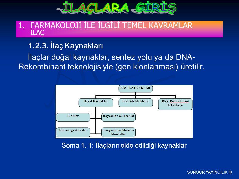 SONGÜR YAYINCILIK  1.2.3. İlaç Kaynakları İlaçlar doğal kaynaklar, sentez yolu ya da DNA- Rekombinant teknolojisiyle (gen klonlanması) üretilir. Şema