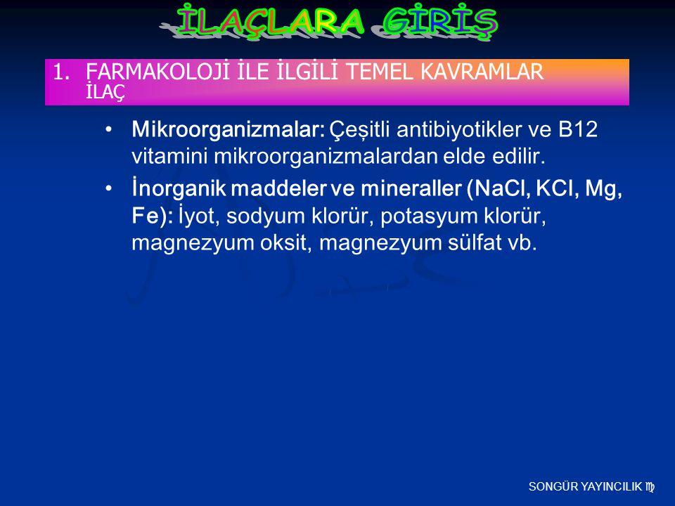 SONGÜR YAYINCILIK  Mikroorganizmalar: Çeşitli antibiyotikler ve B12 vitamini mikroorganizmalardan elde edilir. İnorganik maddeler ve mineraller (NaCl