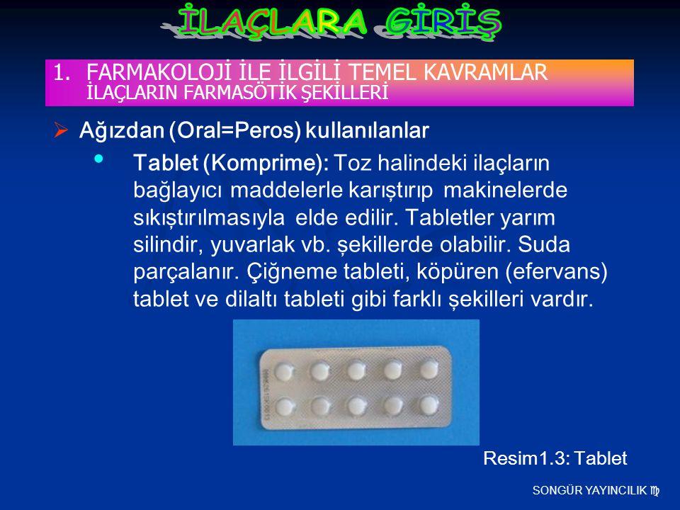 SONGÜR YAYINCILIK   Ağızdan (Oral=Peros) kullanılanlar Tablet (Komprime): Toz halindeki ilaçların bağlayıcı maddelerle karıştırıp makinelerde sıkışt