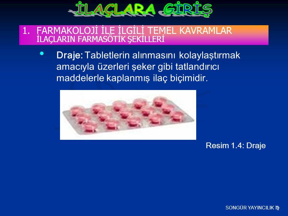 SONGÜR YAYINCILIK  Draje: Tabletlerin alınmasını kolaylaştırmak amacıyla üzerleri şeker gibi tatlandırıcı maddelerle kaplanmış ilaç biçimidir. Resim