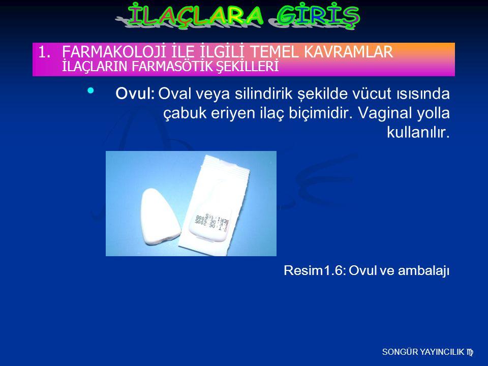 SONGÜR YAYINCILIK  Ovul: Oval veya silindirik şekilde vücut ısısında çabuk eriyen ilaç biçimidir. Vaginal yolla kullanılır. Resim1.6: Ovul ve ambalaj