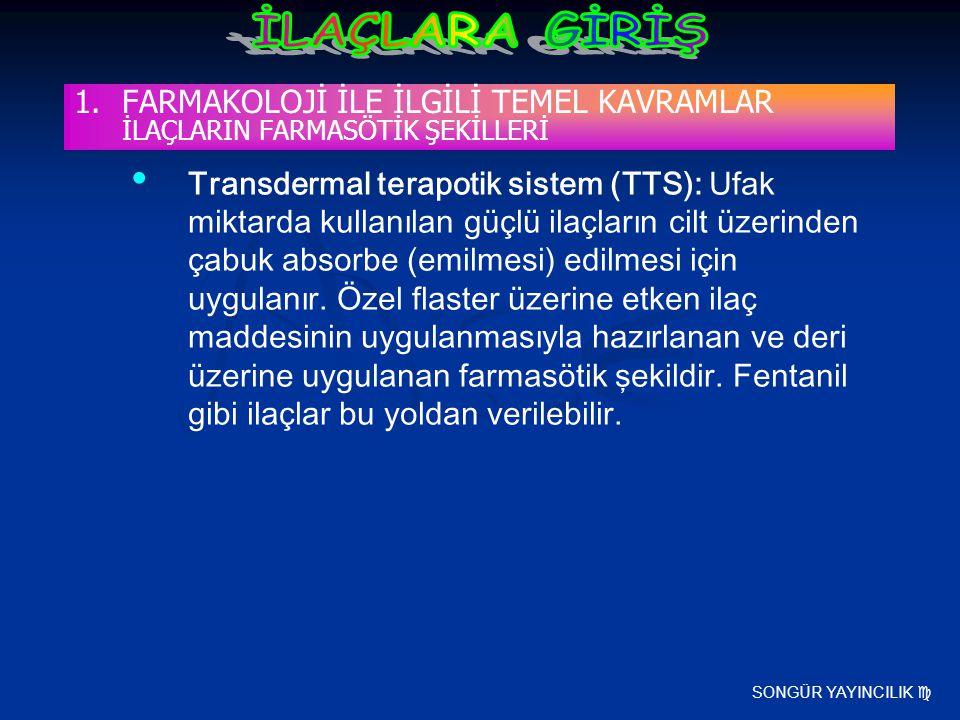 SONGÜR YAYINCILIK  Transdermal terapotik sistem (TTS): Ufak miktarda kullanılan güçlü ilaçların cilt üzerinden çabuk absorbe (emilmesi) edilmesi için
