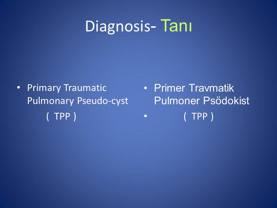 Diagnosis - Tanı Primary Traumatic Pulmonary Pseudo-cyst ( TPP ) Primer Travmatik Pulmoner Psödokist ( TPP )