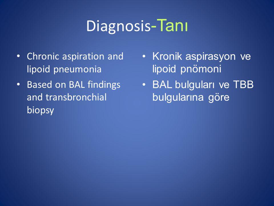 Diagnosis -Tanı Chronic aspiration and lipoid pneumonia Based on BAL findings and transbronchial biopsy Kronik aspirasyon ve lipoid pnömoni BAL bulguları ve TBB bulgularına göre