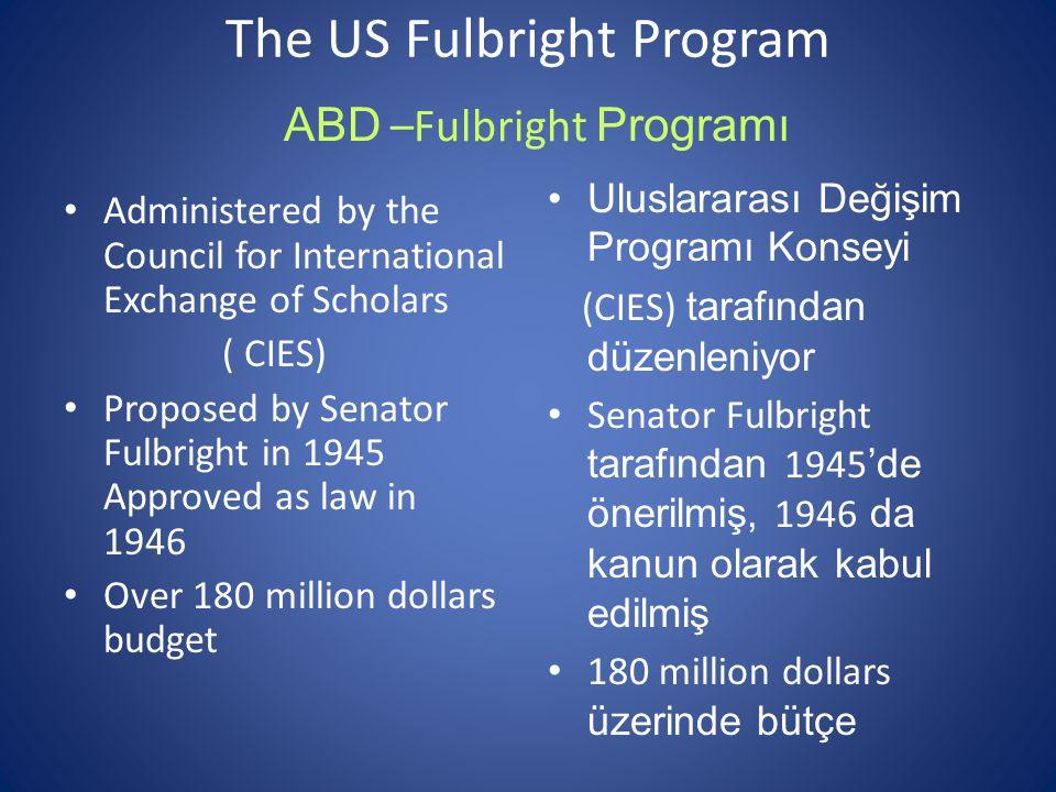 The US Fulbright Program Administered by the Council for International Exchange of Scholars ( CIES) Proposed by Senator Fulbright in 1945 Approved as law in 1946 Over 180 million dollars budget ABD –Fulbright Programı Uluslararası Değişim Programı Konseyi (CIES) tarafından düzenleniyor Senator Fulbright tarafından 1945 'de önerilmiş, 1946 da kanun olarak kabul edilmiş 180 million dollars üzerinde bütçe