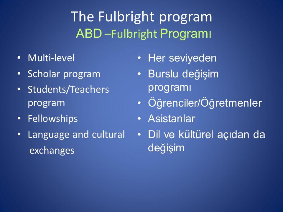 The Fulbright program Multi-level Scholar program Students/Teachers program Fellowships Language and cultural exchanges Her seviyeden Burslu değişim programı Öğrenciler/Öğretmenler Asistanlar Dil ve kültürel açıdan da değişim ABD –Fulbright Programı