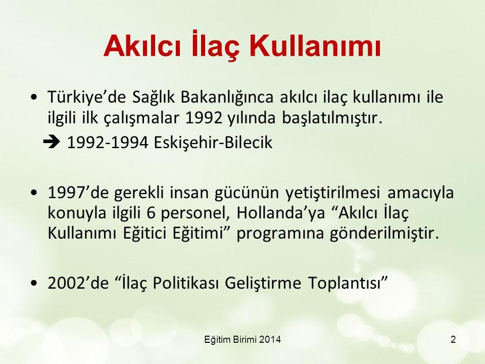 Akılcı İlaç Kullanımı Türkiye'de Sağlık Bakanlığınca akılcı ilaç kullanımı ile ilgili ilk çalışmalar 1992 yılında başlatılmıştır.  1992-1994 Eskişehi