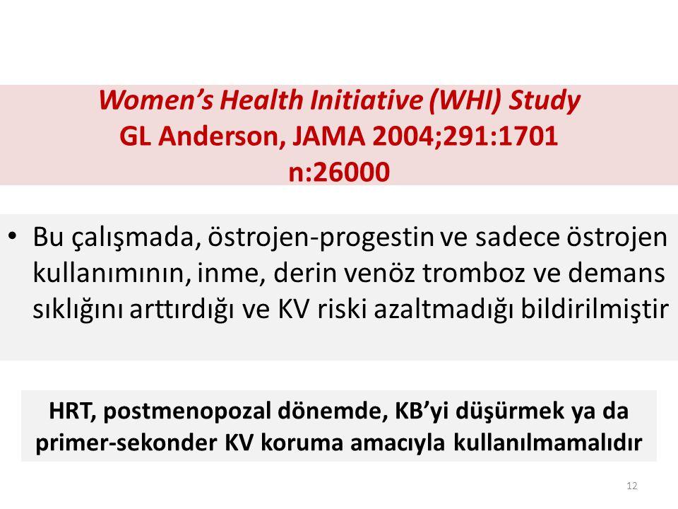 Women's Health Initiative (WHI) Study GL Anderson, JAMA 2004;291:1701 n:26000 Bu çalışmada, östrojen-progestin ve sadece östrojen kullanımının, inme, derin venöz tromboz ve demans sıklığını arttırdığı ve KV riski azaltmadığı bildirilmiştir HRT, postmenopozal dönemde, KB'yi düşürmek ya da primer-sekonder KV koruma amacıyla kullanılmamalıdır 12