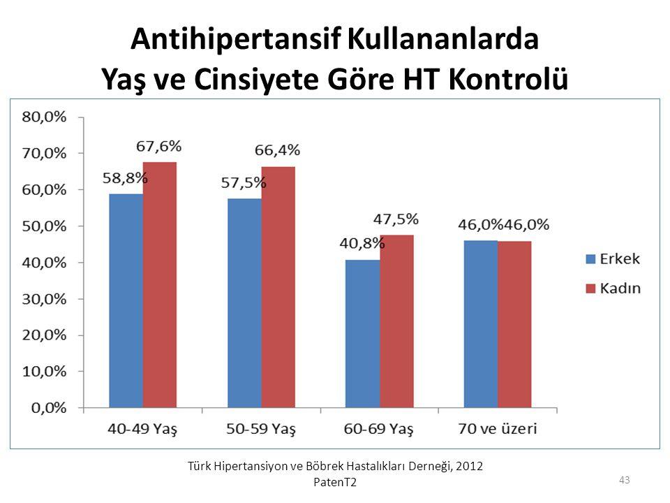 Antihipertansif Kullananlarda Yaş ve Cinsiyete Göre HT Kontrolü Türk Hipertansiyon ve Böbrek Hastalıkları Derneği, 2012 PatenT2 43