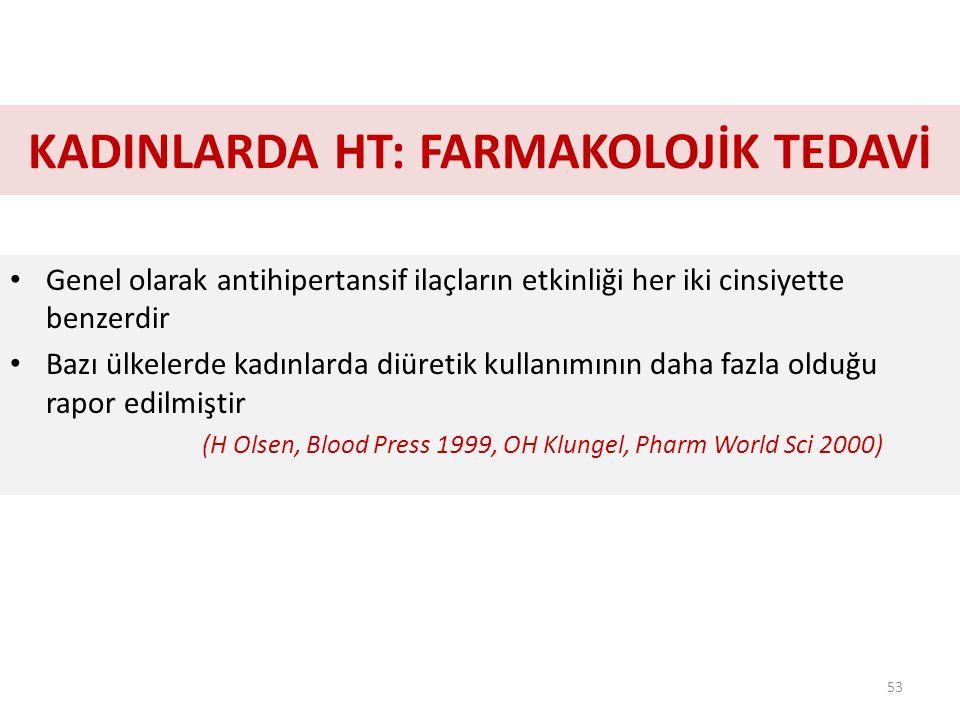 KADINLARDA HT: FARMAKOLOJİK TEDAVİ Genel olarak antihipertansif ilaçların etkinliği her iki cinsiyette benzerdir Bazı ülkelerde kadınlarda diüretik kullanımının daha fazla olduğu rapor edilmiştir (H Olsen, Blood Press 1999, OH Klungel, Pharm World Sci 2000) 53