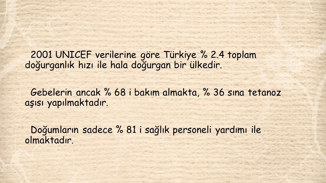 2001 UNICEF verilerine göre Türkiye % 2.4 toplam doğurganlık hızı ile hala doğurgan bir ülkedir. Gebelerin ancak % 68 i bakım almakta, % 36 sına tetan