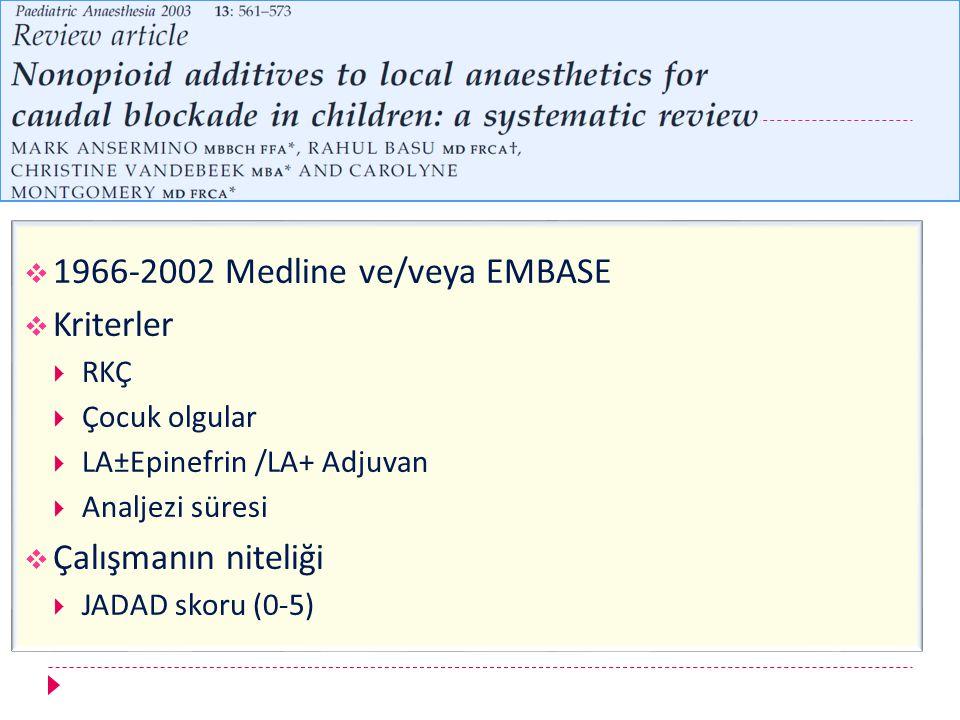  1966-2002 Medline ve/veya EMBASE  Kriterler  RKÇ  Çocuk olgular  LA±Epinefrin /LA+ Adjuvan  Analjezi süresi  Çalışmanın niteliği  JADAD skoru