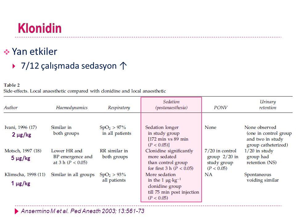  Yan etkiler  7/12 çalışmada sedasyon ↑ 1 μg/kg 5 μg/kg 2 μg/kg Ansermino M et al. Ped Anesth 2003; 13:561-73