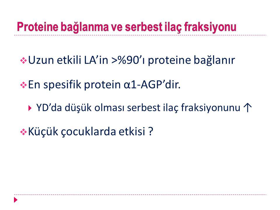  Uzun etkili LA'in >%90'ı proteine bağlanır  En spesifik protein α1-AGP'dir.  YD'da düşük olması serbest ilaç fraksiyonunu ↑  Küçük çocuklarda etk
