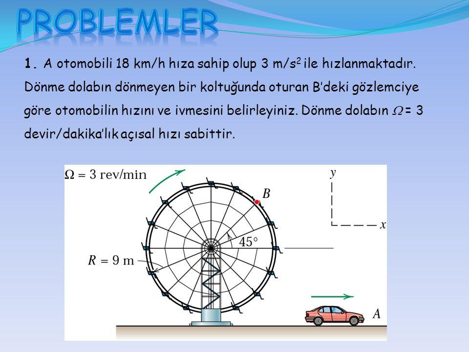1. A otomobili 18 km/h hıza sahip olup 3 m/s 2 ile hızlanmaktadır. Dönme dolabın dönmeyen bir koltuğunda oturan B'deki gözlemciye göre otomobilin hızı