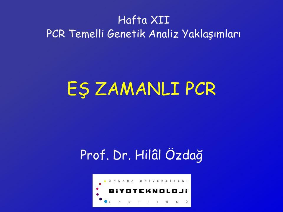 EŞ ZAMANLI PCR Prof. Dr. Hilâl Özdağ Hafta XII PCR Temelli Genetik Analiz Yaklaşımları