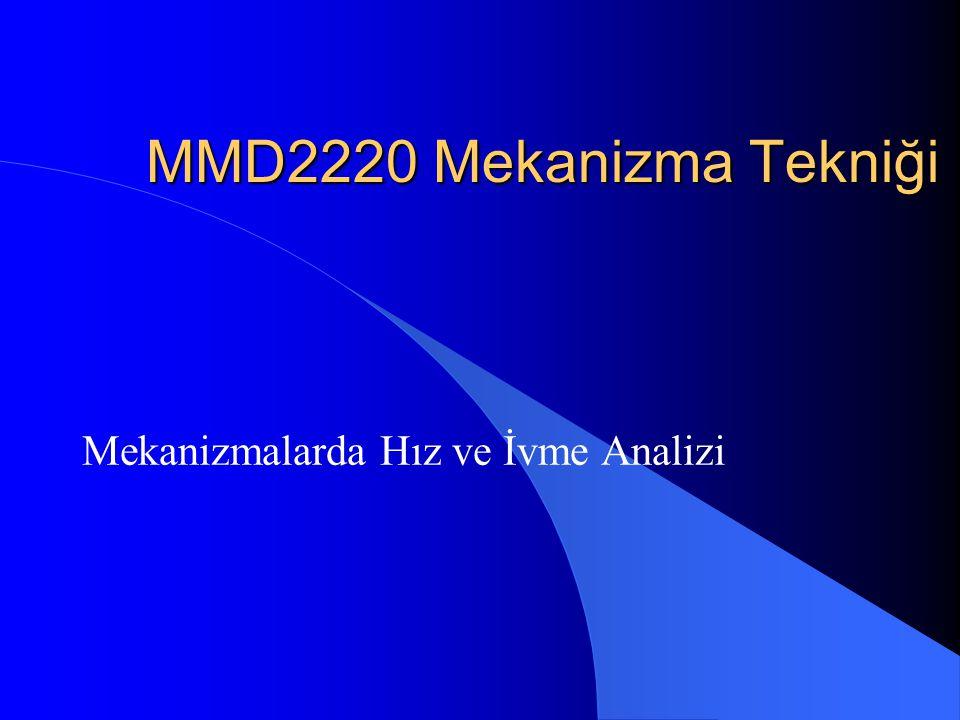 MMD2220 Mekanizma Tekniği Mekanizmalarda Hız ve İvme Analizi