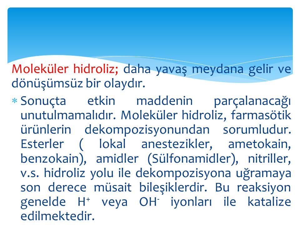  Oksidasyon: Farmasötik ürünlerin oksidasyonla bozunmaları hidroliz kadar yaygındır.