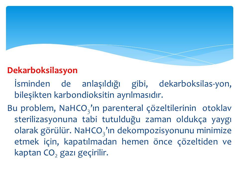 CO 2 Absorpsiyonu Bir farmasötik ürünün atmosferden CO 2 absorpsiyonu, dekarboksilasyonla CO 2 kaybından daha sık görülür.