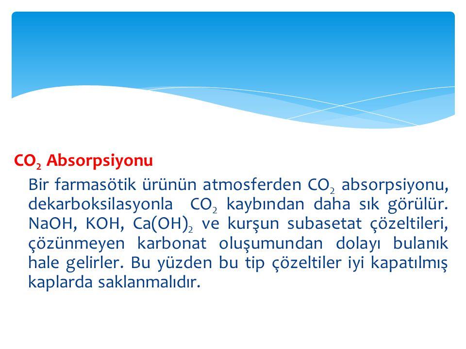  Magnezyum hidroksid ve iki uçucu nazal dekonjestan (konjesyon: kanlanma, kan hücumu, damarların aşırı kanla doluşu, dekonjestan: konjesyonu azaltıcı veya giderici ilaç) olan amfetamin ve propil heksedrin de atmosferden CO2 absorbe ederler.