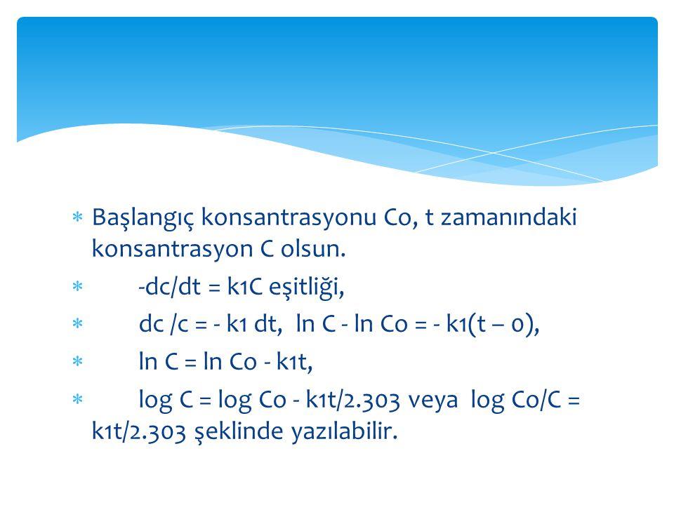 Buradan,  k 1 = (2.303/t) log Co/C bulunur.