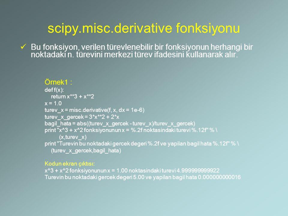 scipy.misc.derivative fonksiyonu Bu fonksiyon, verilen türevlenebilir bir fonksiyonun herhangi bir noktadaki n. türevini merkezi türev ifadesini kulla