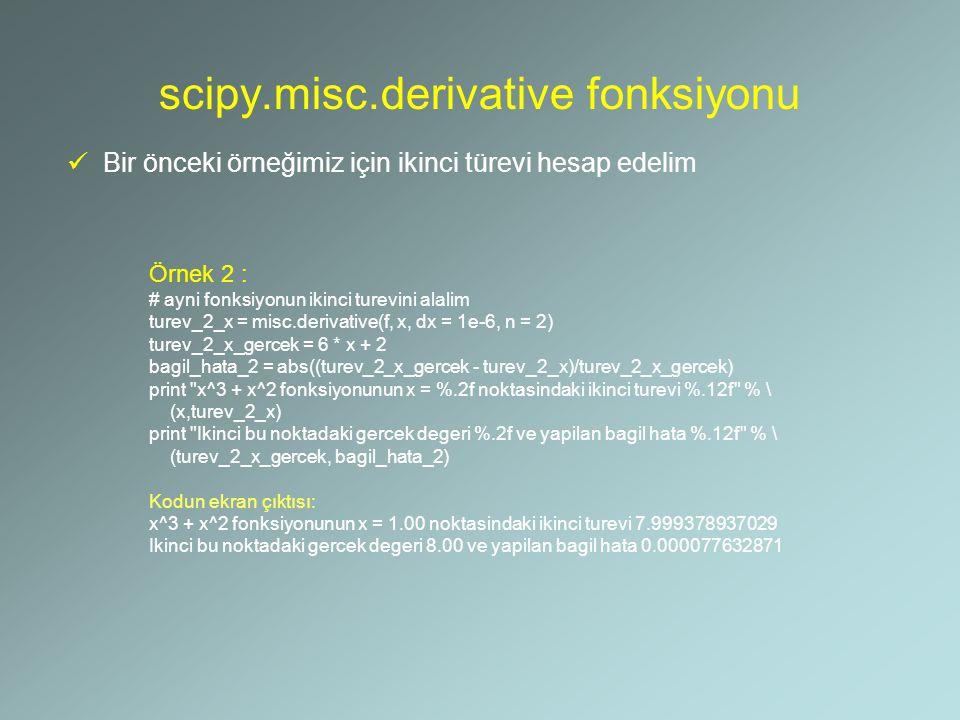 scipy.misc.derivative fonksiyonu Bir önceki örneğimiz için ikinci türevi hesap edelim Örnek 2 : # ayni fonksiyonun ikinci turevini alalim turev_2_x =