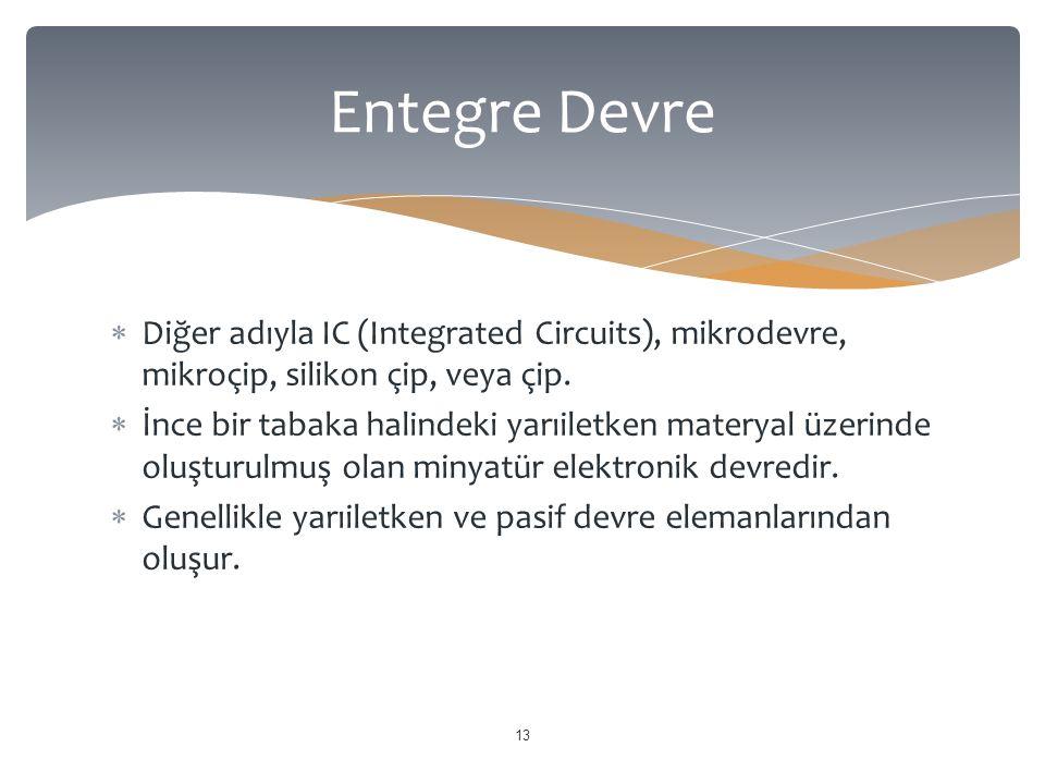  Diğer adıyla IC (Integrated Circuits), mikrodevre, mikroçip, silikon çip, veya çip.