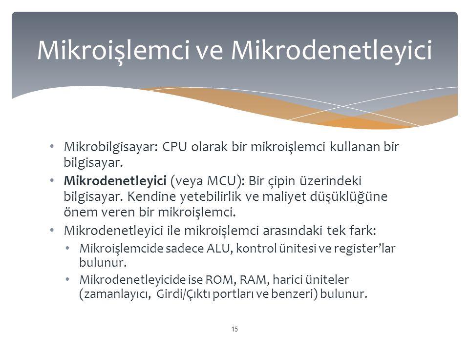 Mikrobilgisayar: CPU olarak bir mikroişlemci kullanan bir bilgisayar. Mikrodenetleyici (veya MCU): Bir çipin üzerindeki bilgisayar. Kendine yetebilirl