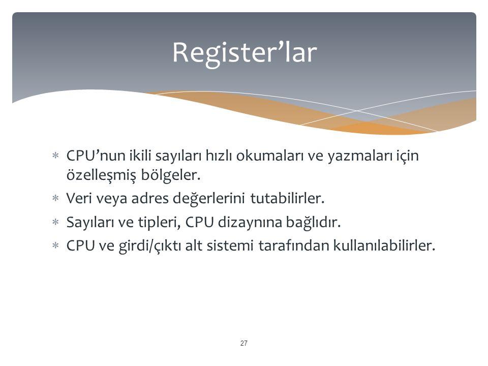  CPU'nun ikili sayıları hızlı okumaları ve yazmaları için özelleşmiş bölgeler.  Veri veya adres değerlerini tutabilirler.  Sayıları ve tipleri, CPU