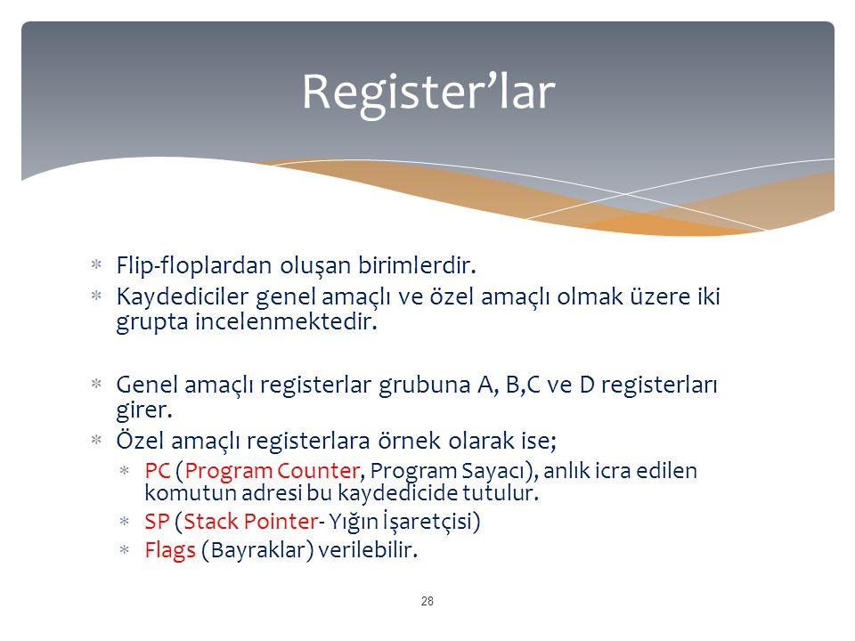 Flip-floplardan oluşan birimlerdir.  Kaydediciler genel amaçlı ve özel amaçlı olmak üzere iki grupta incelenmektedir.  Genel amaçlı registerlar gr