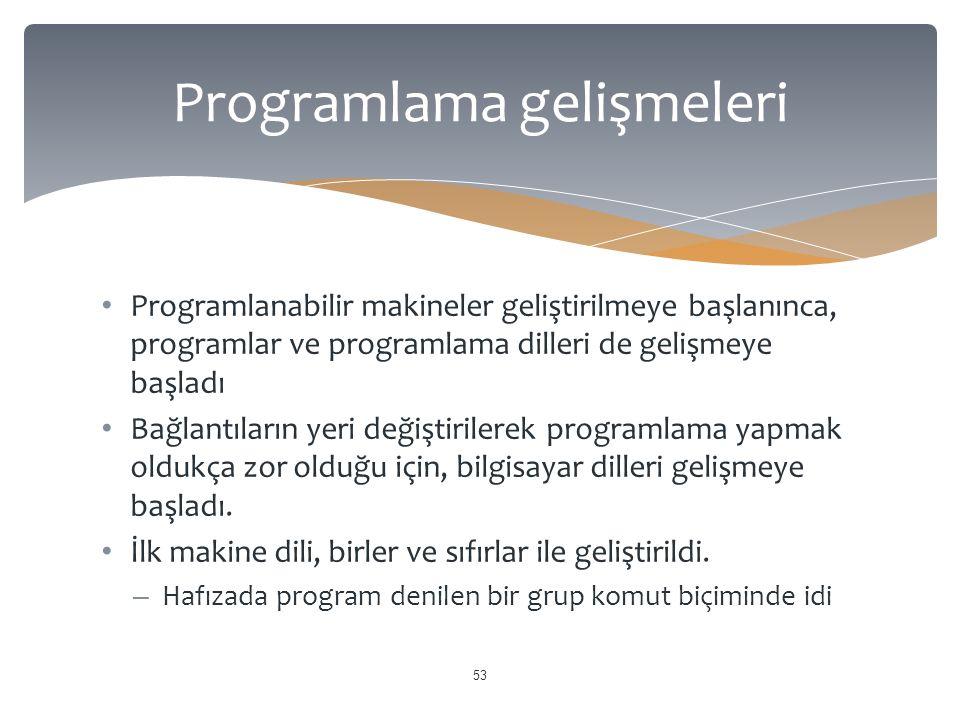 Programlanabilir makineler geliştirilmeye başlanınca, programlar ve programlama dilleri de gelişmeye başladı Bağlantıların yeri değiştirilerek programlama yapmak oldukça zor olduğu için, bilgisayar dilleri gelişmeye başladı.