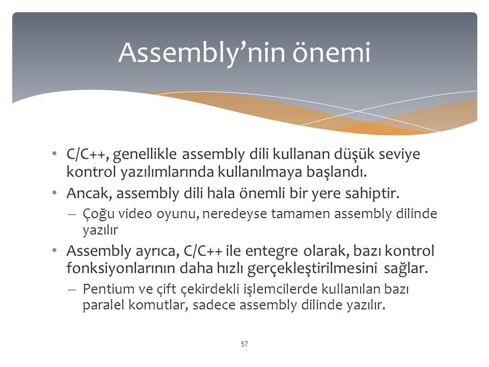 C/C++, genellikle assembly dili kullanan düşük seviye kontrol yazılımlarında kullanılmaya başlandı. Ancak, assembly dili hala önemli bir yere sahiptir