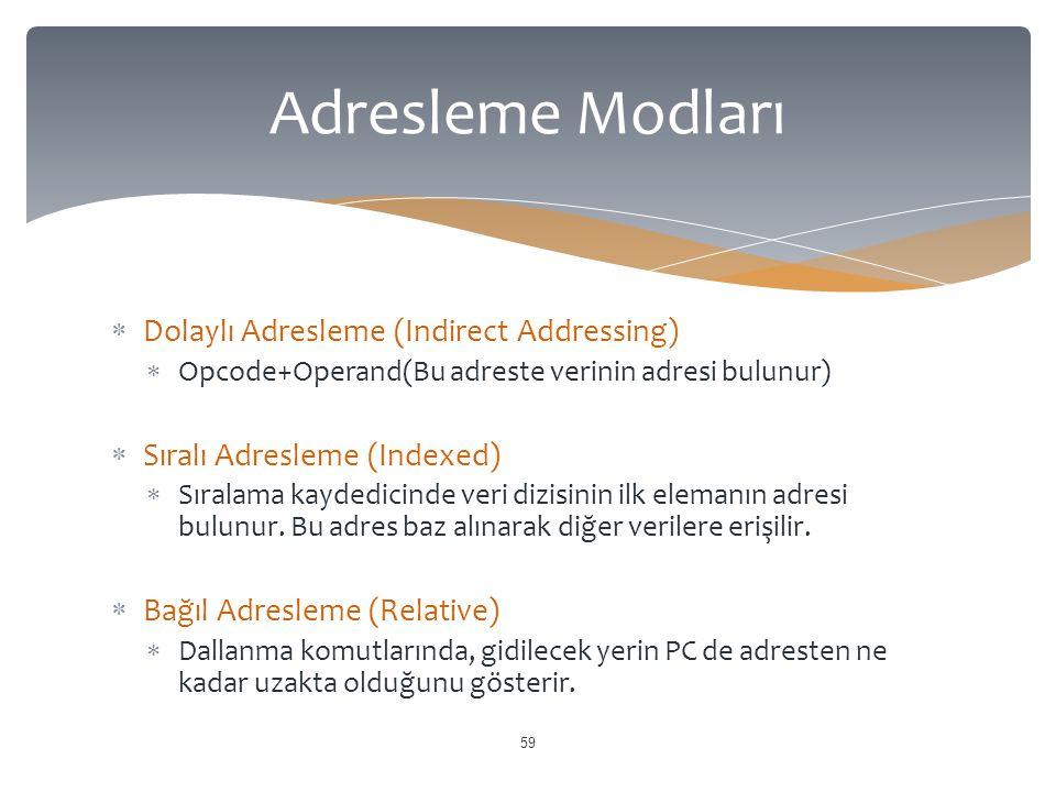  Dolaylı Adresleme (Indirect Addressing)  Opcode+Operand(Bu adreste verinin adresi bulunur)  Sıralı Adresleme (Indexed)  Sıralama kaydedicinde veri dizisinin ilk elemanın adresi bulunur.