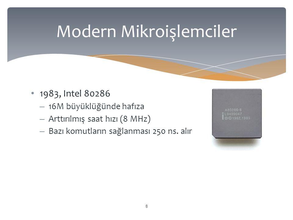 1983, Intel 80286 – 16M büyüklüğünde hafıza – Arttırılmış saat hızı (8 MHz) – Bazı komutların sağlanması 250 ns. alır 8 Modern Mikroişlemciler