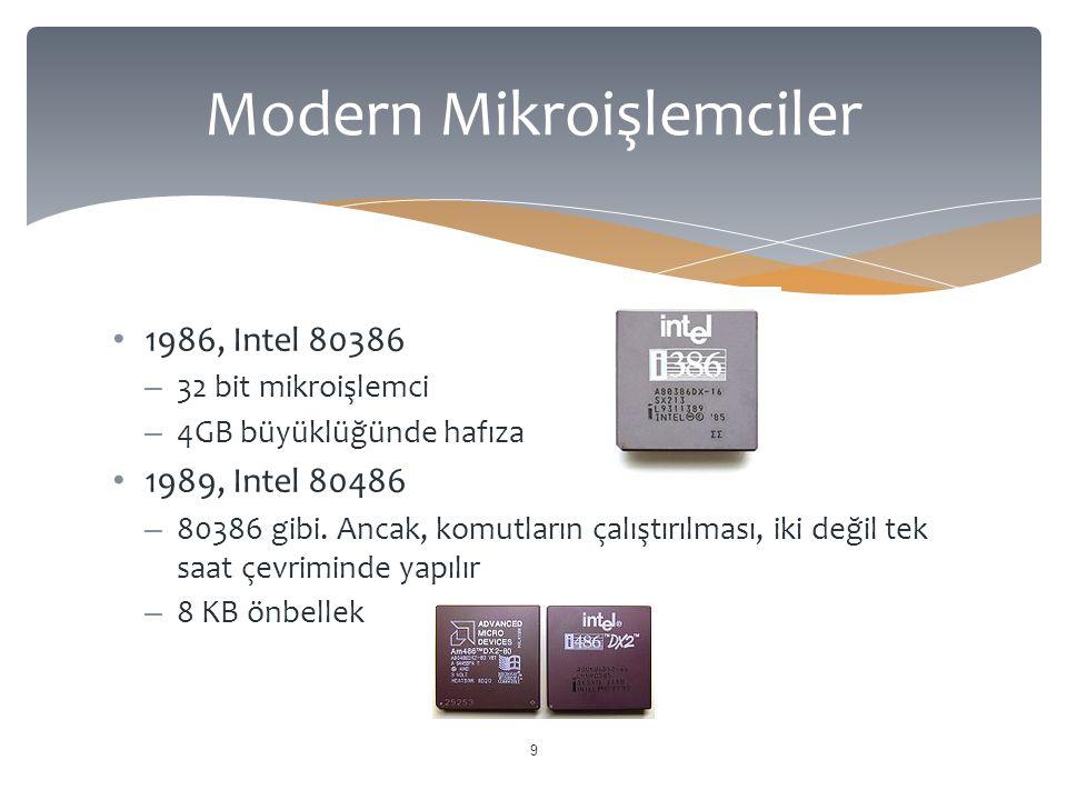  1993, Intel Pentium (P5 veya 80586)  Giriş verisyonları, 60 & 66 MHz saat frekanslarında ve 110 MIPS hızında çalışmakta idi  16 KB önbellek  30 Hz ve üzerinde video gösterimine olanak tanımakta idi.