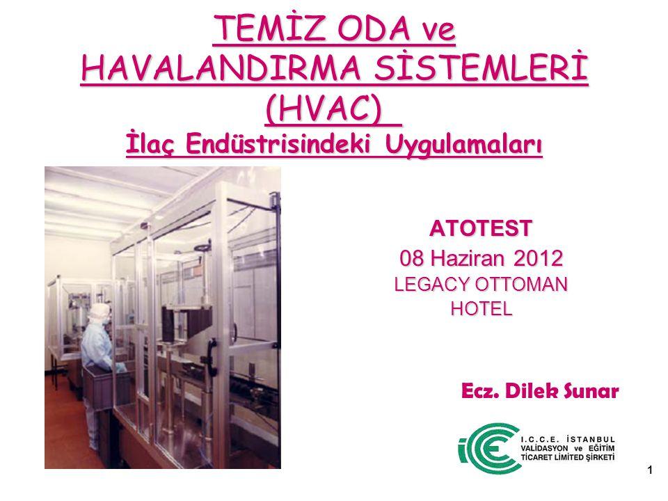 TEMİZ ODA ve HAVALANDIRMA SİSTEMLERİ (HVAC) İlaç Endüstrisindeki Uygulamaları ATOTEST 08 Haziran 2012 LEGACY OTTOMAN HOTEL 1 Ecz.