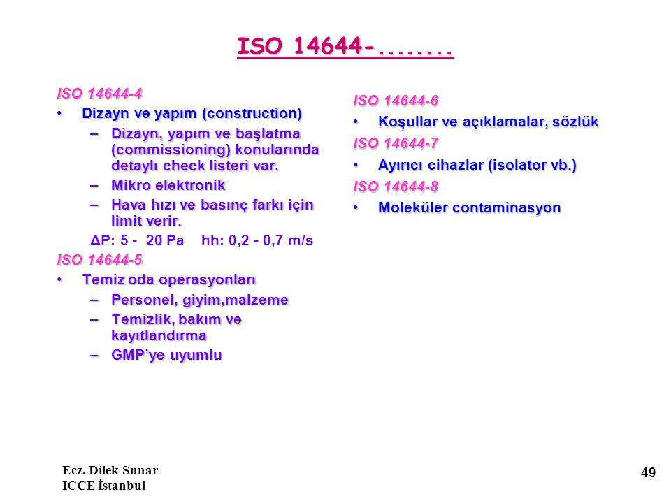 Ecz.Dilek Sunar ICCE İstanbul 49 ISO 14644-........