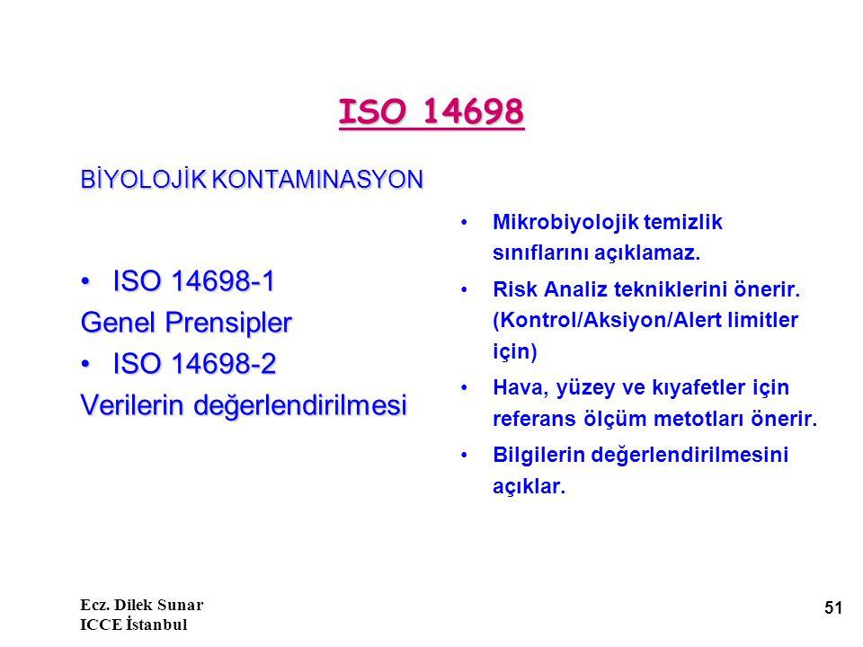 Ecz. Dilek Sunar ICCE İstanbul 51 ISO 14698 BİYOLOJİK KONTAMINASYON ISO 14698-1ISO 14698-1 Genel Prensipler ISO 14698-2ISO 14698-2 Verilerin değerlend