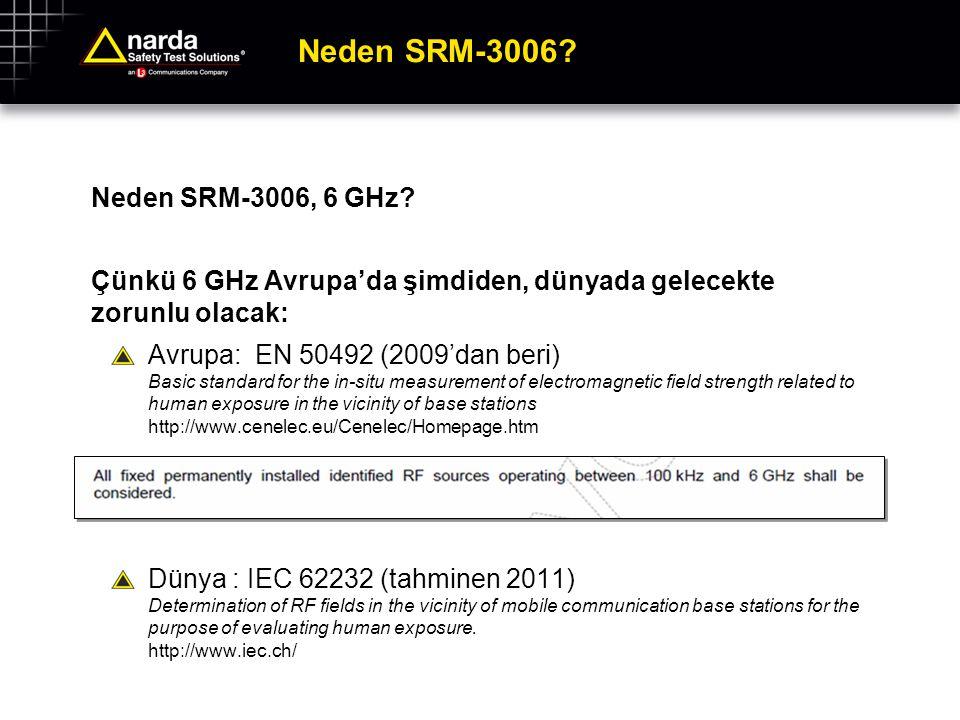 Neden SRM-3006? Neden SRM-3006, 6 GHz? Çünkü 6 GHz Avrupa'da şimdiden, dünyada gelecekte zorunlu olacak: Avrupa: EN 50492 (2009'dan beri) Basic standa