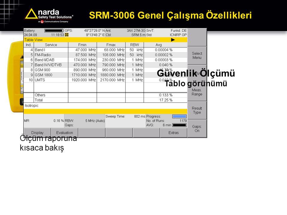 SRM-3006 Genel Çalışma Özellikleri Güvenlik Ölçümü Grafik görünümü Örneğin GSM BBCH'larını çabucak tanımlayabilmek için