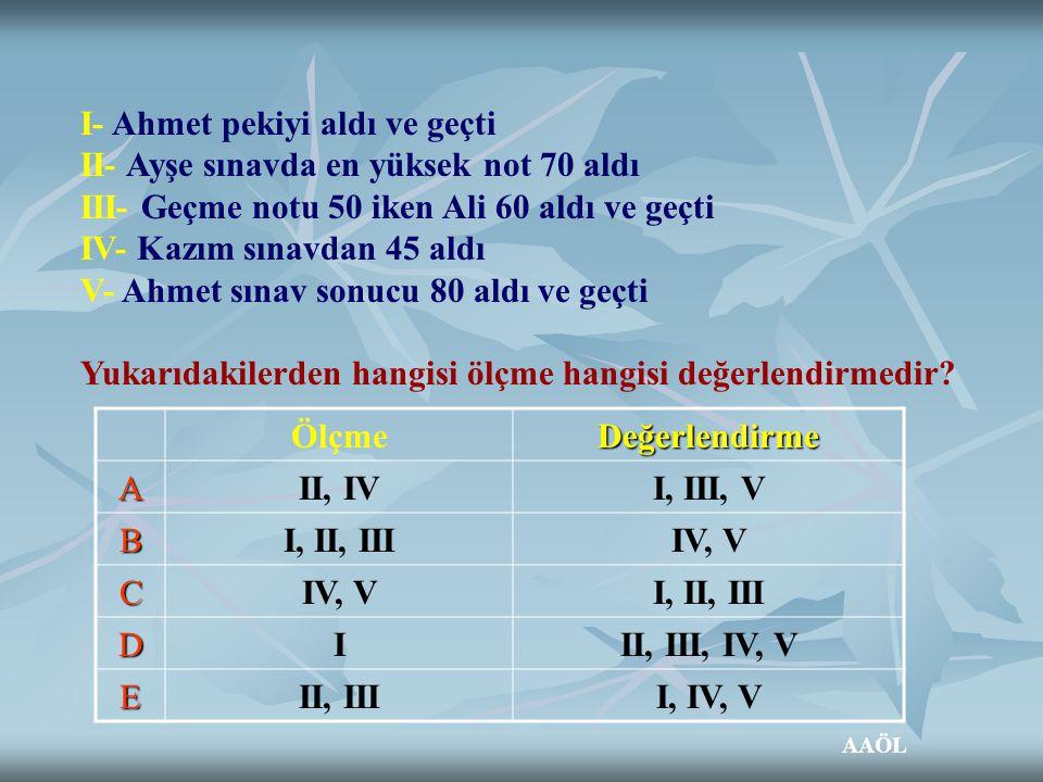 I- Ahmet pekiyi aldı ve geçti II- Ayşe sınavda en yüksek not 70 aldı III- Geçme notu 50 iken Ali 60 aldı ve geçti IV- Kazım sınavdan 45 aldı V- Ahmet
