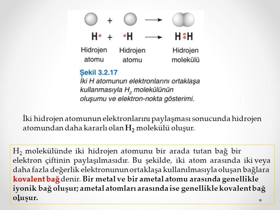 İki hidrojen atomunun elektronlarını paylaşması sonucunda hidrojen atomundan daha kararlı olan H 2 molekülü oluşur. kovalent bağ H 2 molekülünde iki h