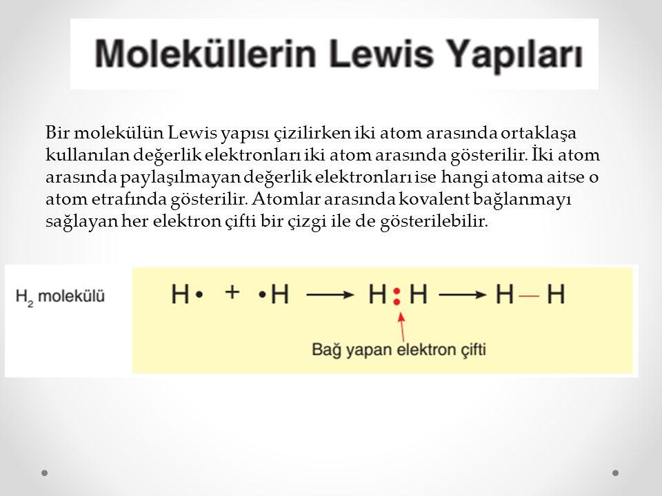 Bir molekülün Lewis yapısı çizilirken iki atom arasında ortaklaşa kullanılan değerlik elektronları iki atom arasında gösterilir. İki atom arasında pay