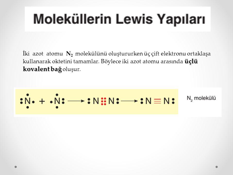 üçlü kovalent bağ İki azot atomu N 2 molekülünü oluştururken üç çift elektronu ortaklaşa kullanarak oktetini tamamlar. Böylece iki azot atomu arasında