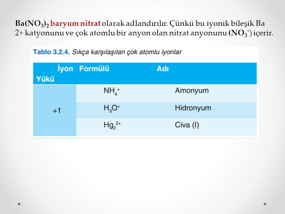 Ba(NO 3 ) 2 baryum nitrat olarak adlandırılır. Çünkü bu iyonik bileşik Ba 2+ katyonunu ve çok atomlu bir anyon olan nitrat anyonunu (NO 3 - ) içerir.