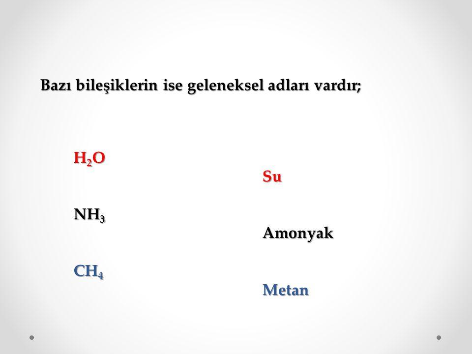 Bazı bileşiklerin ise geleneksel adları vardır; H2OH2OH2OH2OSu NH 3 Amonyak CH 4 Metan