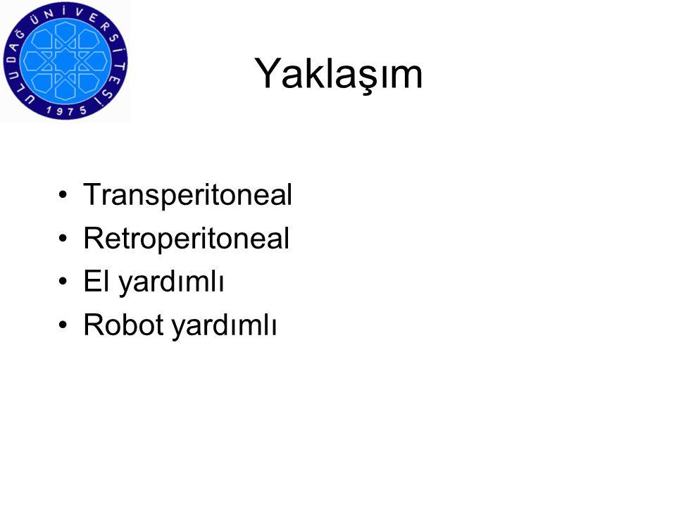 Uludağ Üniversitesi Deneyimi 110 LRN (62 erkek, 48 kadın olgu) 49 olguda sağ, 61 olguda sol LRN uygulandı Ortalama –yaş53.2 yıl (25-77 arası) –kitle boyutu T1 4.2 cm (2.5-6.5 arası) T2 8,8 cm (7.5-14 arası) ilk 55 olgu son 55 olgu –operasyon süresi 177 dak(100-280)129 dak (40-225) –kan kaybı 75 ml (10-500)57 ml (30-300) –hastanede kalış3.1 gün (2-8)2.5 gün (2-7) Patolojik evreleme –T163 olgu –T231 olgu –T3 2 olgu –T4 1 olgu –TCC10 olgu –Ksantogranülamatöz pyelonefrit2 olgu –Diffüz büyük B hücreli lenfoma1 olgu 36 aylık ortalama takipte 1 olgu hastalığa bağlı kaybedilidi