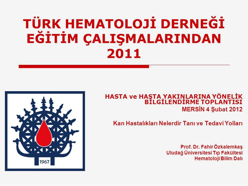 TÜRK HEMATOLOJİ DERNEĞİ EĞİTİM ÇALIŞMALARINDAN 2011 HASTA ve HASTA YAKINLARINA YÖNELİK BİLGİLENDİRME TOPLANTISI MERSİN 4 Şubat 2012 Kan Hastalıkları Nelerdir Tanı ve Tedavi Yolları Prof.