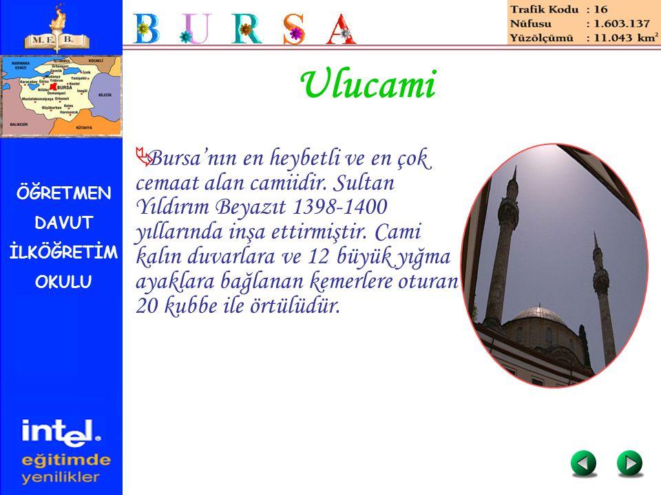 ÖĞRETMEN DAVUT İLKÖĞRETİM OKULU Ulucami  Bursa'nın en heybetli ve en çok cemaat alan camiidir. Sultan Yıldırım Beyazıt 1398-1400 yıllarında inşa etti